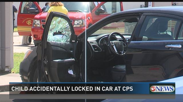 child locked in hot car